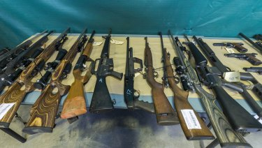 Some of the firearms seized in Queensland since February 1, as part of Operation Quebec Camouflage.