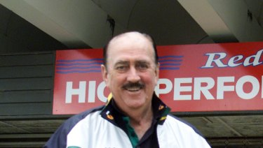 Ken Wood outside his swimming academy in Redcliffe, pictured in September 2001.