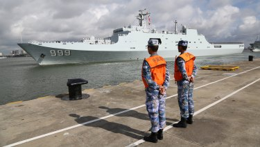 A Chinese ship heading to the Djibouti base last year.