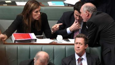 Peta Credlin talks to Liberal MPs during Question Time when she was Tony Abbott's chief-of-staff.