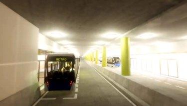 Brisbane Metro underground station at the Cultural Centre in South Brisbane