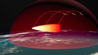 Part of a computer simulation Putin presented during the campaign showing a hypersonic weapon bypassing missile defences en route to target.