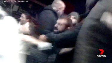 The brawl erupted outside a cafe in Arncliffe.