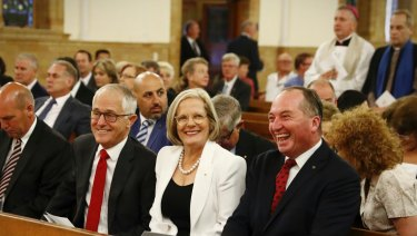Prime Minister Malcolm Turnbull, Lucy Turnbull and Deputy Prime Minister Barnaby Joyce at a church service in Canberra earlier this month.