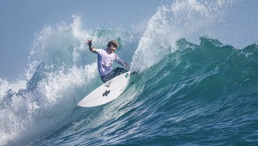 University of Wollongong team surfer Brett Connellan testing the 3D-printed fins