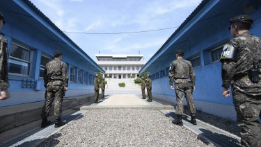 South Korean soldiers stand guard in the Demilitarised Zone.