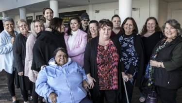 Indigenous writer Nakkiah Lui (in pink) with family and friends after seeing a performance of Blackie Blackie Brown: The Traditional Owner of Death at the STC Wharf Theatre.