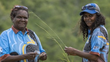 Karen Liddy, left, the chairman of the Lama Lama Land Trust in Queensland.