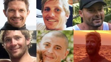 The six missing fishermen from the trawler Dianne (left to right). Top: Ben Leahy, Adam Hoffman and Eli Tonks. Bottom: Zachary Feeney, Chris Sammut and Adam Bidner.