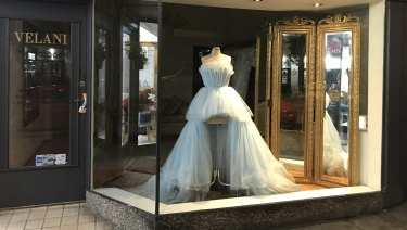 "Back on the rack: Roxy Jacenko's mullet dress in the window of Five Dock ""couturier"" Velani 48 hours after the Gold Dinner."