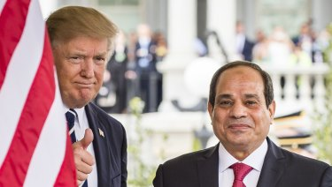 US President Donald Trump, left, and Abdel-Fattah El-Sisi, Egypt's president, stand for a photograph at the West Wing of the White House.