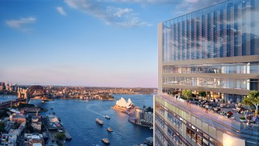 Artist impression of the planned $1.5b Lendlease office tower at Circular Quay, Sydney