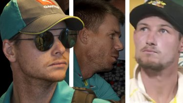 At the centre: Steve Smith, David Warner and Cameron Bancroft.
