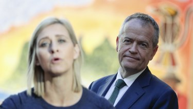 Labor candidate for Longman, Susan Lamb, and Opposition Leader Bill Shorten address the media during a visit to the Caboolture Hospital on  Tuesday.