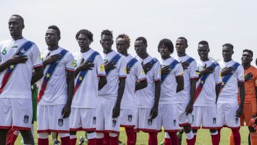 The South Sudan team in their change strip.