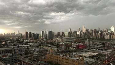 Storm clouds gather over New York City on Tuesday.