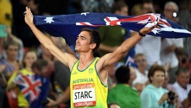 Brandon Starc celebrates gold.