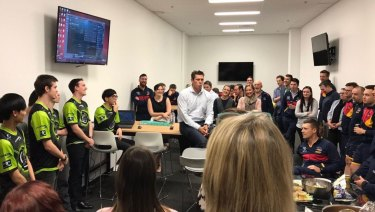 Adelaide's Football Club purchased the Legacy eSports team earlier this year. Here, Crows CEO Andrew Fagan addresses the team.