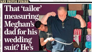 The cover of the Mail on Sunday showing Thomas Markle, Meagan Markle's father, being fitted for a suit.