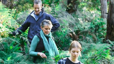 Mark Fancett, Michelle de la Coeur and their daughter Alex Fancett explore the proposed quarry site.