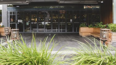 The area outside Jamie's Italian Canberra was empty on Monday.