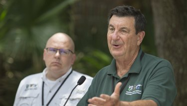 Ron Forman, President and CEO of the Audubon Nature Institute, speaks during a press conference at the Audubon Zoo
