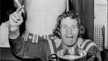Graeme Langlands after leading Australia to their 22-18 win in the third Rugby League Test at the SCG in 1974.