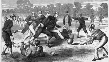 An Australian Rules game in Yarra Park, Melbourne, 1874. Artist: Oswald Rose Campbell; Date: July 13, 1874. Print: wood engraving. Courtesy of the State Library of Victoria.