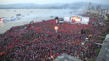 Thousands of supporters of Muharrem Ince, the presidential candidate of Turkey's main opposition Republican People's Party, attend a rally in Izmir.