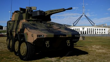 The Rheinmetall Boxer CRV at Parliament House in Canberra.