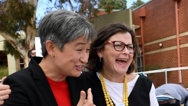 Senator Penny Wong and Labor candidate for Batman, Ged Kearney.