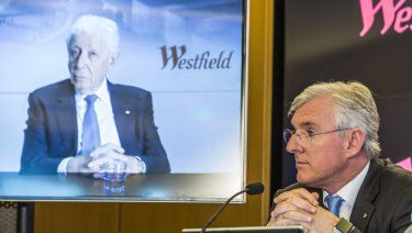 Westfield's Frank Lowy and his son Steven as they announced the proposed deal withUnibail-Rodamco. Frank Lowy spoke via video feed from London.