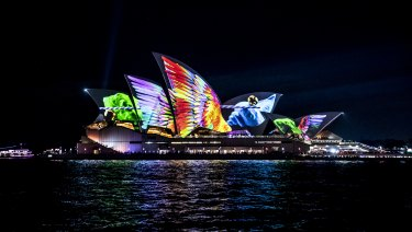The Opera House lit up for Vivid this year.