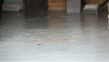 Blood stains could be seen in the garage of the property at Callistemon Rise.