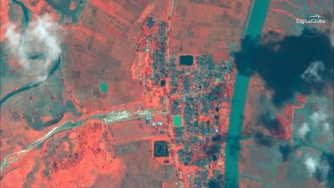 Infrared satellite image shows an aerial overview of the village of Gu Dar Pyin, Myanmar, another village with mass graves like those in Inn Din.