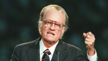 Billy Graham speaks to a huge crowd in Atlanta's Georgia Dome in 1994.