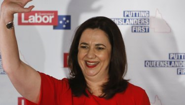 Premier Annastacia Palaszczuk thanks supporters at the Oxley Golf Club on Saturday night.