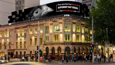 Artist impressions of the Be Fair  Be Vegan campaign on Flinders Street.