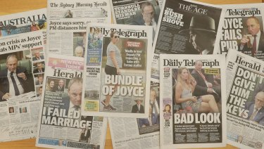 Newspaper coverage of Deputy Prime Minister  Barnaby Joyce reporting on his affair with staff member Vikki Campion.