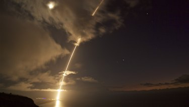 A medium-range ballistic missile launched during a test from the Pacific Missile Range Facility on Kauai, Hawaii, in 2017.