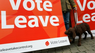 A dog bites a Vote Leave campaign poster on the run up to the referendum in 216.