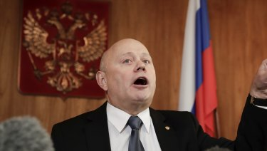 Russia's ambassador to Australia, Grigory Logvinov, at a press conference in Canberra last week.