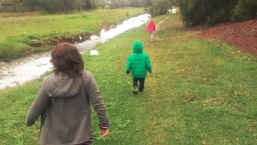 Reader Coady took this photos of his kids walking alongside a very foamy Dandenong Creek.