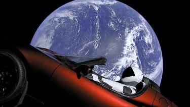 Musk's red Tesla sports car was launched into space during the first test flight of the Falcon Heavy rocket in February.