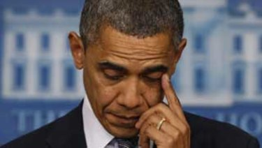 US President Barack Obama wiped away a tear as he spoke about the shooting at Sandy Hook Elementary School in Newtown, Connecticut.