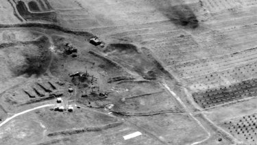 Damage to the Him Shinshar chemical weapons storage site after a missile strike by the US and its allies.