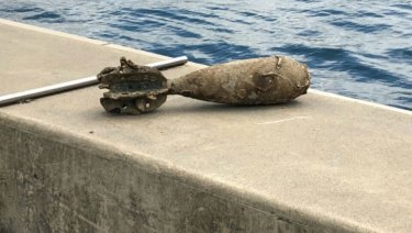 An undetonated bomb found in Jones Bay, Pyrmont, on Wednesday.