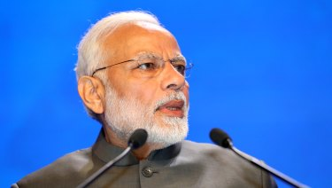 Narendra Modi, India's Prime Minister, delivers the keynote at the Shangri-la dialogue.