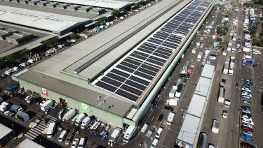 Sydney Markets has the largest single rooftop solar panel installation for a private company in the Southern Hemisphere.