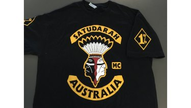 A Satudarah OMCG shirt seized by NSW Police.